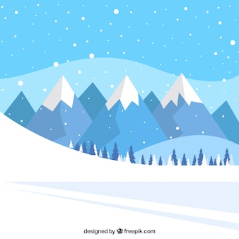 Landschap achtergrond van sneeuw spoor en bergen