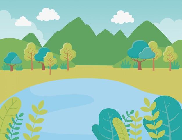 Landschap bomen meer bergen struiken gebladerte natuur groen beeld