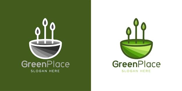 Landschap, boom minimalistische logo ontwerp inspiratie