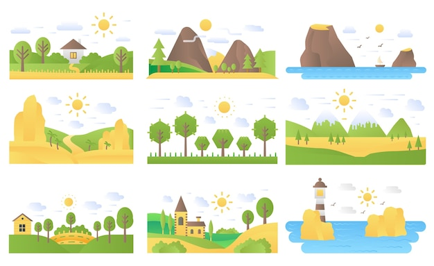 Landschap cartoon platte concept natuur pictogrammen illustraties set