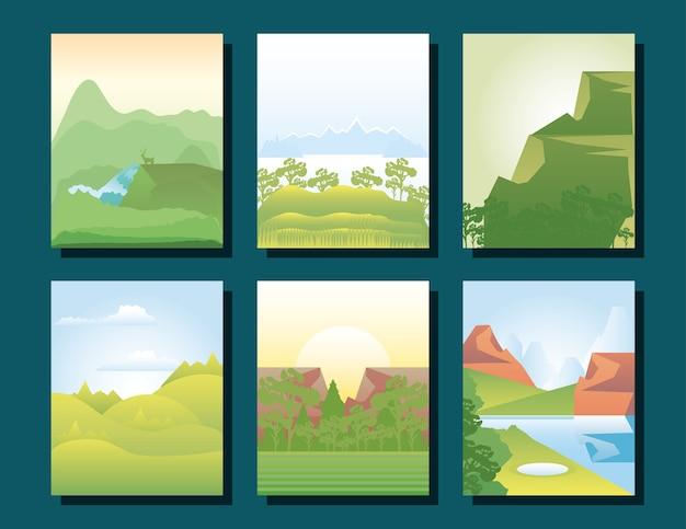Landschap collectie groen bomen veld bergen landschap illustratie
