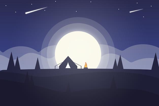 Landschap de volle maan 's nachts is zo mooi