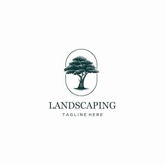 Landschap handgetekende boom logo gratis vector