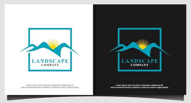 Landschap heuvels bergtoppen in frame vector logo-ontwerp