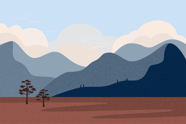 Landschap in blauwe tinten hemel bergen rivier bomen stijl van minimalistische handgetekende panorama