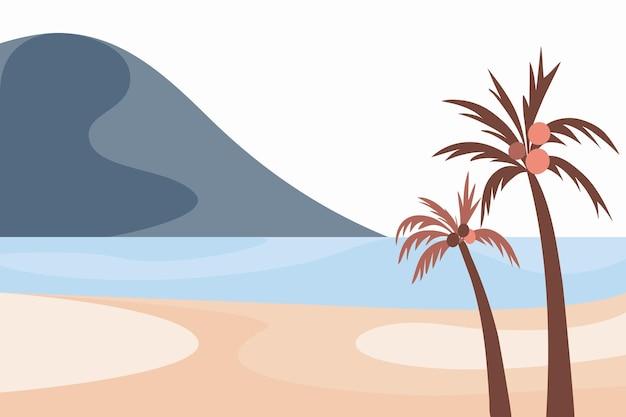 Landschap in blauwe tinten hemel zee bergen rivier palm stijl van minimalistische handgetekende panorama