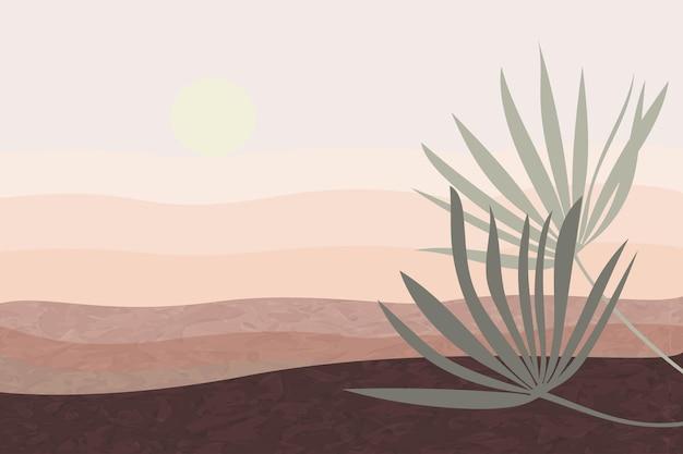 Landschap in bruine tinten hemel bergen palmbladeren stijl van minimalistische handgetekende panorama