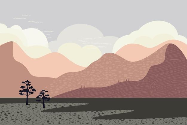 Landschap in bruine tinten textuur hemel bergen bomen stijl van minimalistische handgetekende panorama