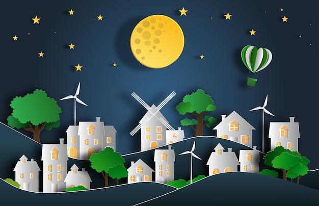 Landschap in de nacht in de stad met maan en sterren.