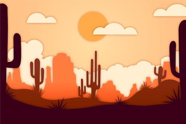 Landschap in papierstijl met cactus