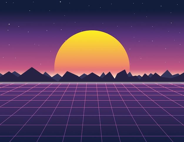 Landschap in retro-futuristische achtergrond 1980 stijl