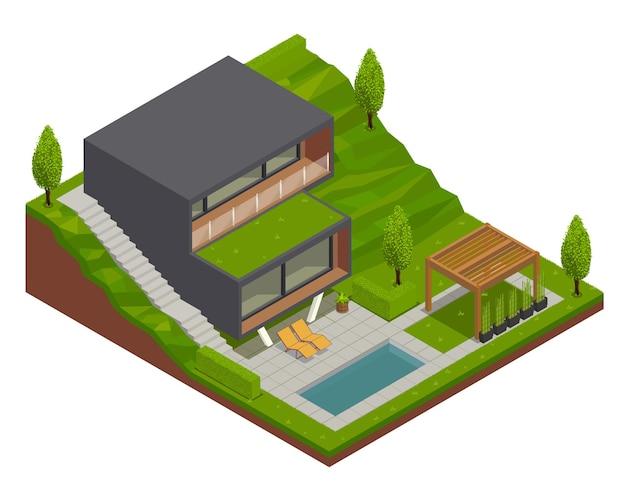 Landschap isometrische compositie met uitzicht op de buitenlucht van moderne villa en ingerichte achtertuin met groen terrein