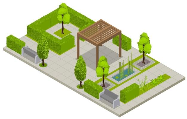 Landschap isometrische compositie met uitzicht op openbare parkplaats met groene omheining bomen en terras