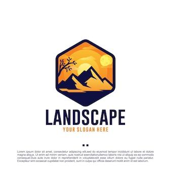 Landschap, maan, zonsondergang, logo-ontwerpsjabloon