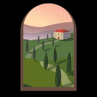 Landschap met bergen en heuvels door een oud raam.