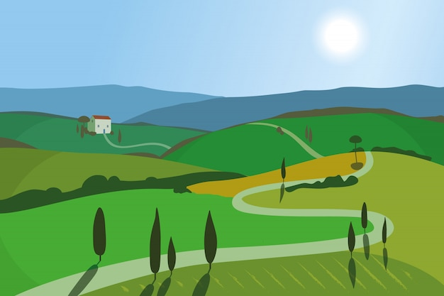 Landschap met bergen en heuvels.