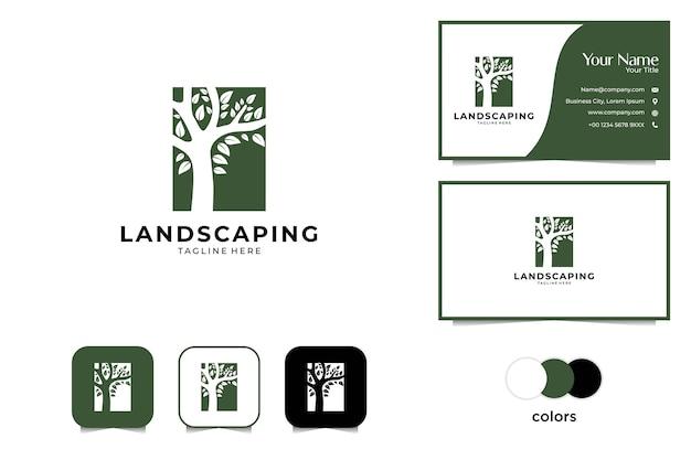 Landschap met boom silhouet logo ontwerp en visitekaartje