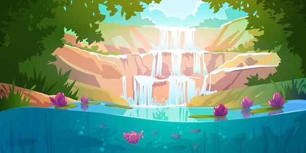 Landschap met cascade waterval in bos