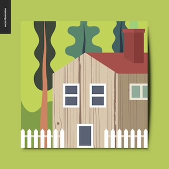 Landschap met een houten huis met een rood dak omgeven door bomen en een witte hek op de voorgrond, groene zomer landschap, zomer briefkaart, vectorillustratie