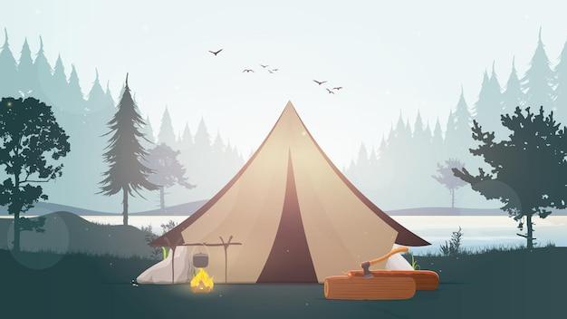 Landschap met een meer, bos, vuur, dennenboom en tent.