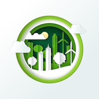 Landschap met groene eco stedelijke stad, earth day en world environment day concept.