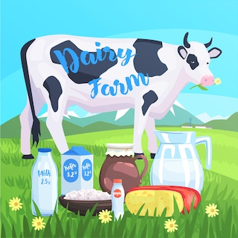 Landschap met koe en melkproducten op de voorgrond
