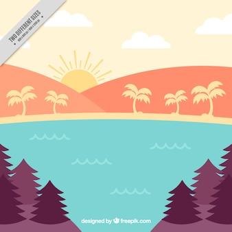 Landschap met palmbomen in vlakke stijl