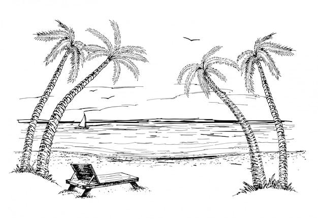 Landschap met schets van de zee en palmbomen. zomer strand hand getrokken schets.