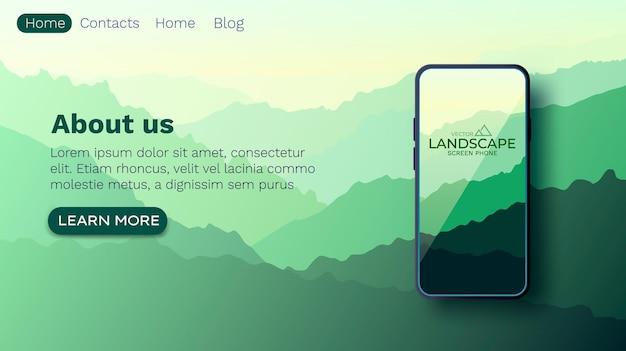 Landschap met silhouetten van bergen. natuur muur. smartphone-scherm