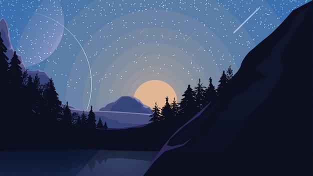 Landschap met sterrenhemel