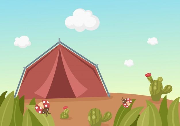 Landschap met tent