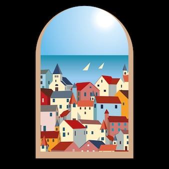 Landschap met zee, kleurrijke huizen en jachten door een oud raam