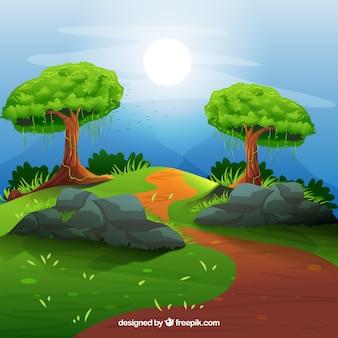 Landschap met zonsondergang