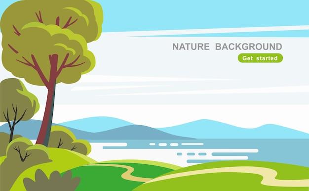 Landschap natuur met bomen veld en rivier