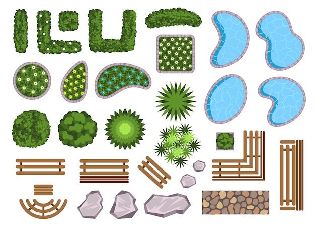 Landschap ontwerp elementen decoratie geïsoleerde set vector platte cartoon grafisch ontwerp illustratie