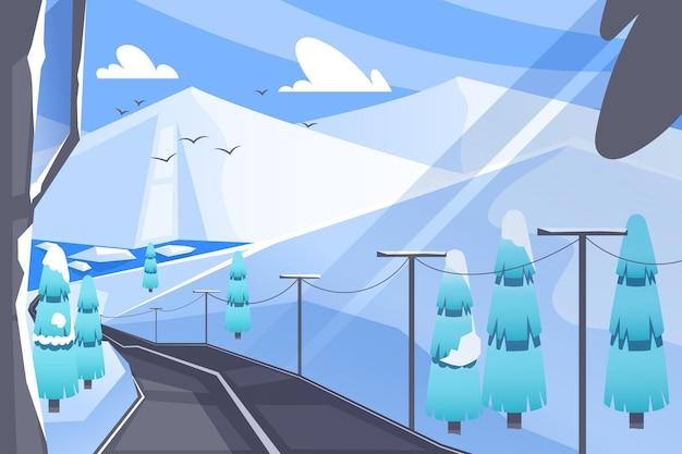 Landschap op de achtergrond van de wintertijd
