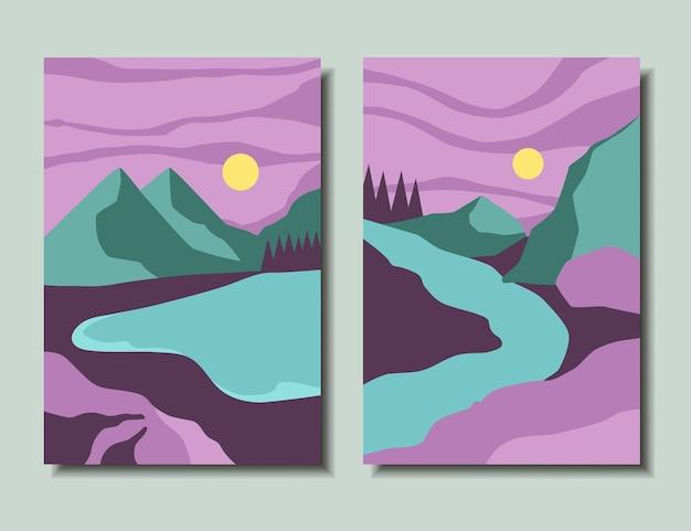 Landschap posters set bergen zonsondergang