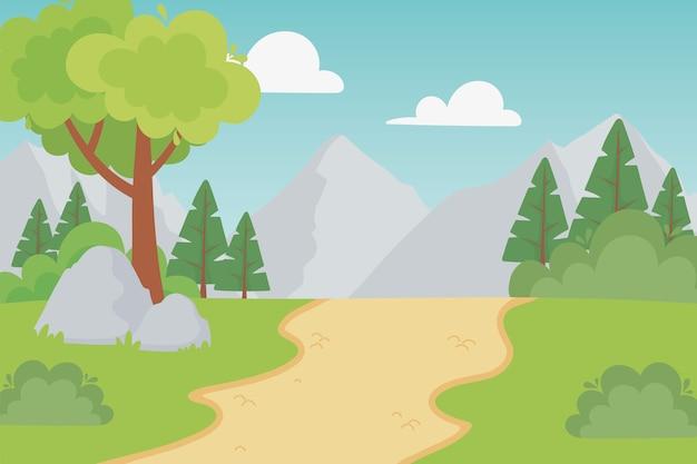 Landschap rotsachtige bergen pad landelijke stenen bush gras illustratie