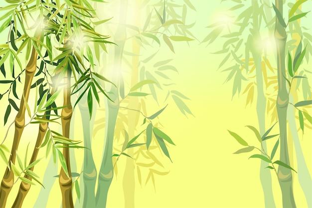 Landschap van bamboestammen en bladeren.