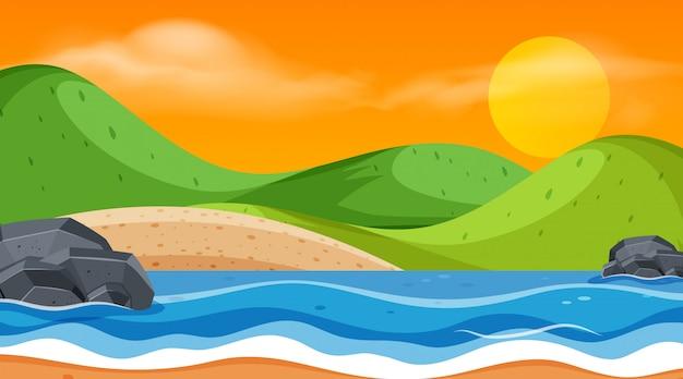 Landschap van de oceaan bij zonsondergang