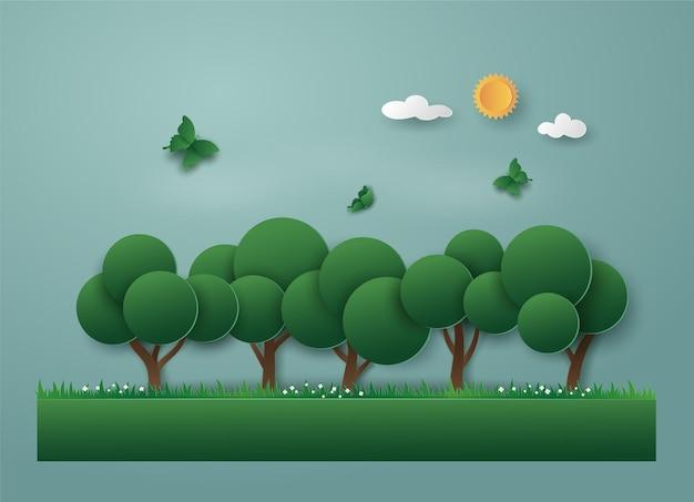 Landschap van groene natuur met eco-energie en milieu, boom en vlinder.