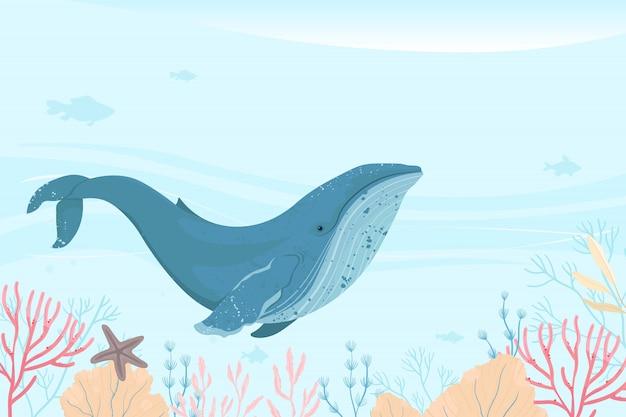 Landschap van het mariene leven. oceaan en onderwaterwereld met verschillende dieren.