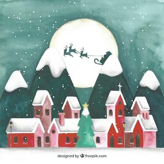 Landschap van kerstmisstad met rode huizen