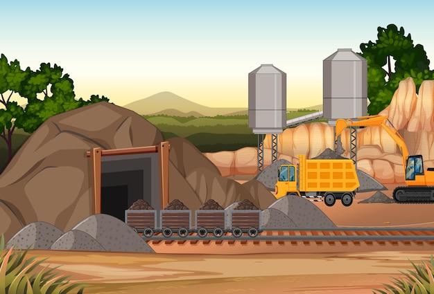 Landschap van kolenmijnscène met kraan en vrachtwagens