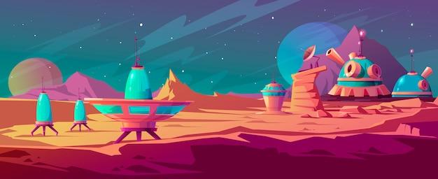 Landschap van mars oppervlak met kolonie gebouwen