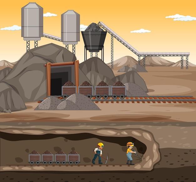 Landschap van mijnbouwscène in zonsondergangtijd