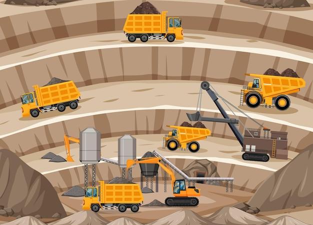 Landschap van mijnbouwscène met kraan en vrachtwagens