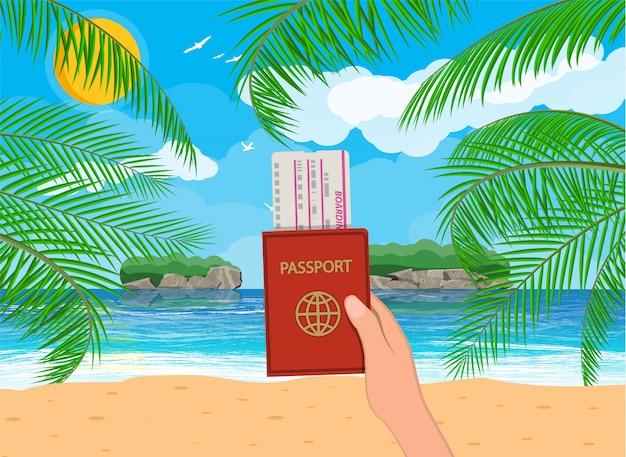 Landschap van palmboom op strand, documenten