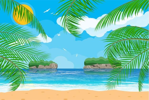Landschap van palmboom op strand