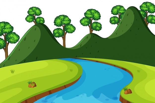 Landschap van rivier door bergen